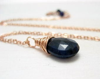 Genuine Sapphire Necklace, 14k Rose Gold Filled Blue Sapphire Pendant Pink Gold September Birthstone Necklace Wire Wrapped