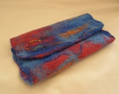Felted Clutch Bag, Handbag, Small, Wet Felted, Red, Blue, Texture.