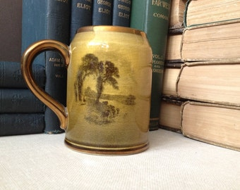 Staffordshire Ridgway Pottery Pint Mug Made in England Coffee Cup Copper Lustre