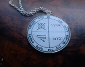 Third Pentacle of Jupiter pendant. Psalm 125.1, Adonai, IHVH