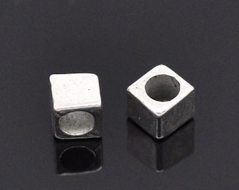 10  Silver Slider Spacer Beads - 4mm x 4mm -  Silver Slider Bead for Leather Cord or Bracelet (B03791)