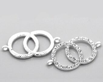 """2 Rhinestone Double Dual Ring Connector Charm - Silver Finish - Crystal Rhinestones - 4.2cm x 2.2cm (1 5/8""""x7/8"""")  (20858)"""