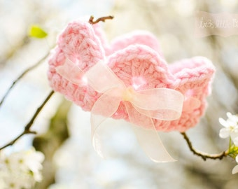 Baby Crown with ribbon bow Baby Girl Newborn Photo Prop - Light Pink,Off white SPRING tiara