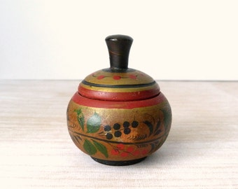 Russian Wooden Flower Motif Box in Red Black Green and Ochre