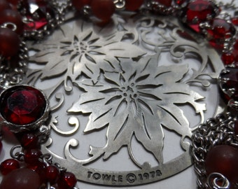 60 Inch Long Bezel Crystal 1978 Towle Poinsettia Medallion Sterling Silver Plated  Burgundy Red Bead  Necklace