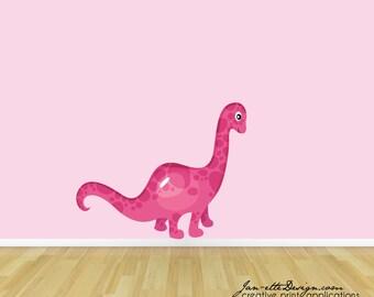 Dinosaur Wall Decal, Girls Pink Dinosaur Fabric Wall Decal