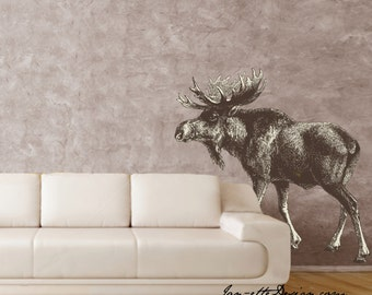 Moose Wall Decal,Rustic Living Room,Removable and Repositionable Fabric Wall Decal