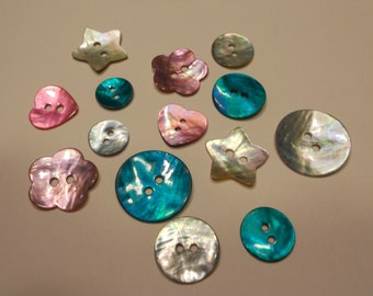 14 piece colorful shell button mix 13- 23 mm (34)