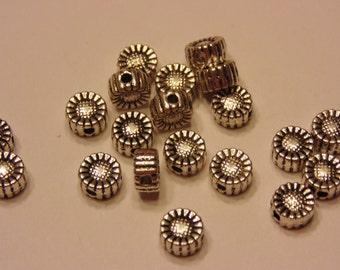 20 tibetan silver flower spacer beads, 5 mm