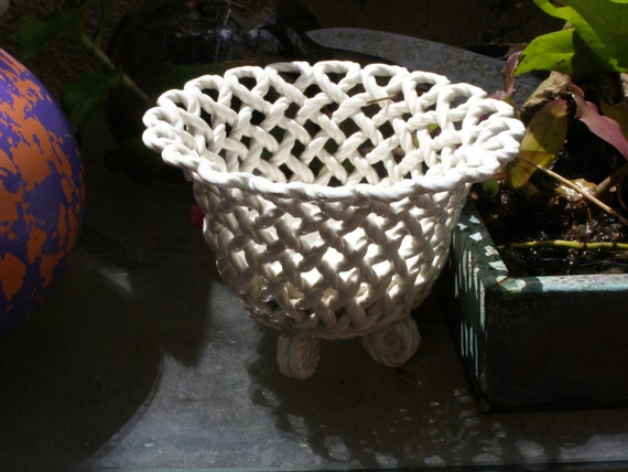 Vintage Ceramic Planter White Lattice Spain Funkandmore