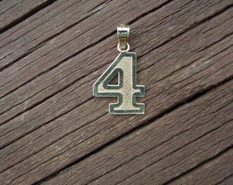 Vintage Gold Pendant, Number 4, Stamped 10 K, 10 Karat Gold, Excellent Condition