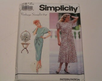 Vintage Simplicity Pattern 7813 Miss Petite Dress with slim or flared skirt