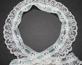 White Ruffled Lace with Teal Green Ribbon Inserts - Wedding Lace - Lingerie Lace - Scalloped Lace - Banded Lace - Ribbon Lace