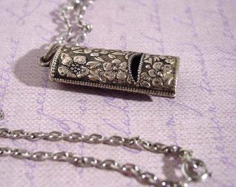 Avon Silver Note Pendant  Necklace Ornate Whistle  Silver-Tone - Vintage 1975