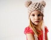 Chunky double pom pom crochet hat, Crochet hat, Children's crochet hat, Teens crochet hat - PeanutandPistachio