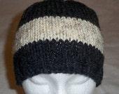 Men's Beanie Hand Knit Ski Hat Winter Snowboard Stocking Cap Wide Stripe Wool Gray Tan