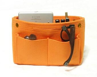 Felt Container Cosmetic Bag Organizer Storage Box Bag Organizing Hand Bag-Orange