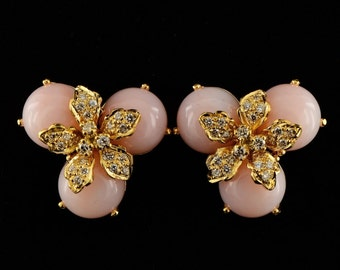 Spectacular pink opal and diamond  tres chic vintage earrings