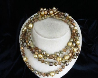 Signed Vedome Vintage Matching Crystal Necklace Bracelet & Earring Set