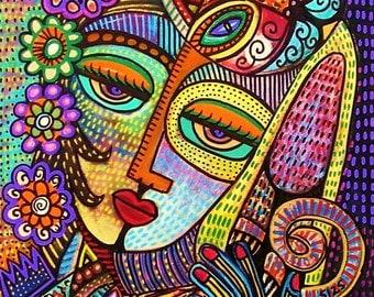 Indigo Vintage Royal Cats - SILBERZWEIG ORIGINAL Art PRINT - Tribal, Talavera, Queen, King, Frida, Goddess, Flowers, Crowns, Affectionate,