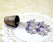 Set of 6 silver butterfly decorative straight pins light pale purple Swarovski gems for the sewing room, craft room, and wedding decor TAGT