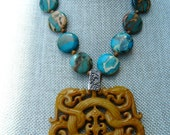 Aquaterra with Huge Carved Bone Pendant Statement Necklace and Earrings Set