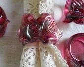 4 Vintage Art Glass Napkin Rings