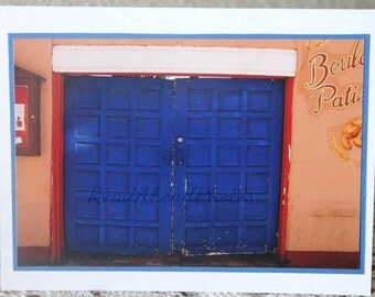 Photo Card: Blue Door, southwest, adobe