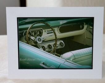 photocard, vintage blue mustang, car photograph