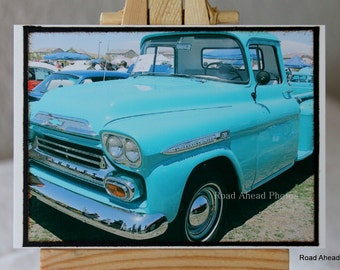 ACEO, ATC,  Artist Trading Card, 1957 Chevy Apache Truck, photograph