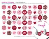 Personalized Valentine's Day Kisses Stickers. DIY (do it yourself) Printable Kisses labels with cute hearts and Valentine's Day Patterns.