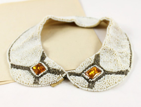 Vintage Beaded Collar Necklace - White, Orange & Gray/Green Beads