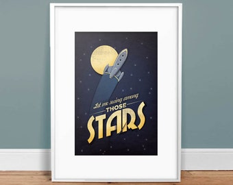 "Among the Stars - 13"" x 19"" - Vintage Poster - Art Print - Kids Decor - Rocket"