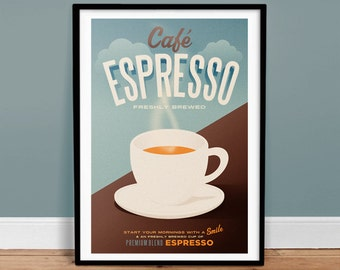 "Cafe Espresso Poster - 24"" x 36"" - Vintage Poster - Retro Art Print - Coffee"