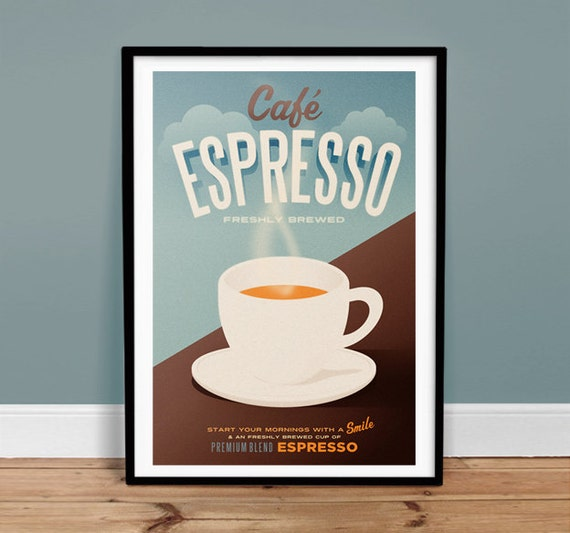 Retro Art Cafe Poster Retro Art Print