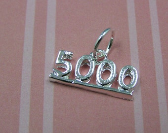 E14 Silver Number Five Thousand 5000 Charm