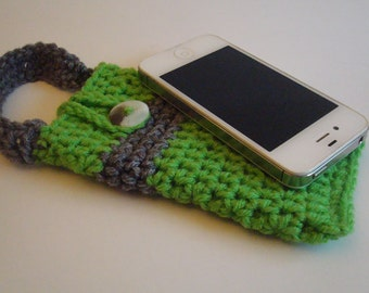Iphone case cover sleeve cozy bag - Ipod Touch  case cover sleeve cozy bag - handmade crochet - Greena nd Grey