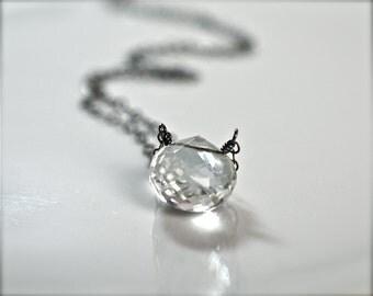 Sale, Diamond Sparkle Clear Crystal Quartz Briolette Oxidized Silver Necklace