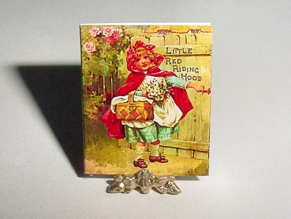 Dollhouse Miniature Book Little RED RIDING HOOD Fairy Tale - Ernest Nister - One Inch 1/12 Scale Dollhouse Story Book Dollhouse Accessory