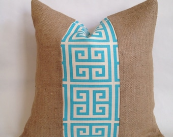Turquoise and Natural Greek Key Fabric and Burlap Pillow Cover