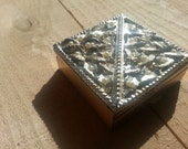 Vintage 1950s Pill Box- Golden Toned Box with Raised Leaf Design and Pearl Accents