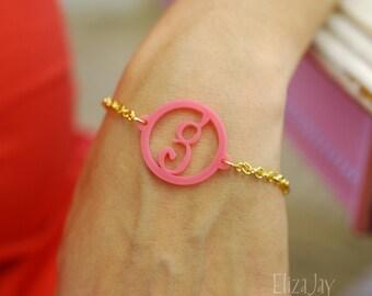 funky initial acrylic bracelet