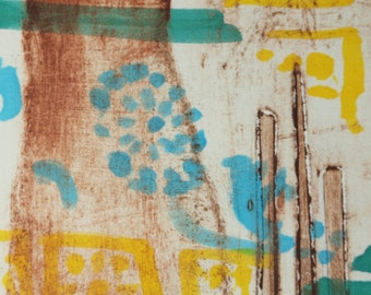 "Archival Print of Original Mixed Media ""Flower of India in Turquoise and Lemon"""
