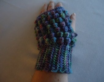 Multi-color Crochet Fingerless Mittens / Fingerless Gloves