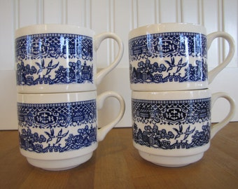 4 Willow MCM Mugs, Royal China, Made in USA, Willow, Willow teacups, Modern Willow Mugs, Willow Pattern