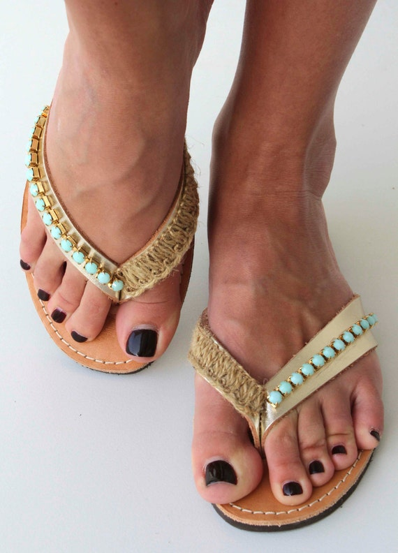 Leather Flip flops - Leather sandals - Gold sandals with mint green Swarovski rhinestone - Greek leather sandals