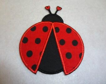 Ladybug Patch, Ladybug Iron On, Red & Black Ladybug Appliqued Iron On Patch