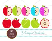 INSTANT DOWNLOAD Apple Clipart Set - Personal and Commercial Use - Digital Embellishment - Digital Art-scrapbooking