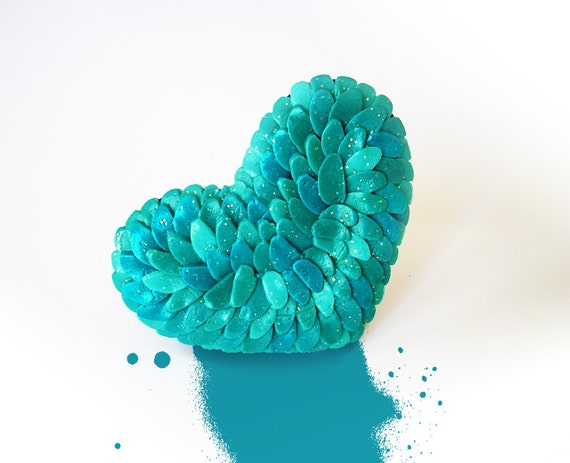 "Heart Ring / OOAK blue heart ring, polymer clay, blue valentine / ""On the Wings of An Angel"" /"