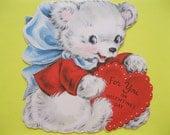Vintage Hallmark PRECIOUS TEDDY Valentine's Day Greeting Card--Cute Artwork--ca 1950s--A147